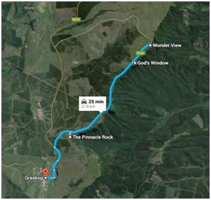 Visão do google maps com o circuito simples do passeio pelo Canyon.